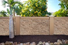 New Texture for Precast Concrete Fence Walls with Stacked Stone Concrete Fencing for Texas