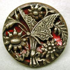 vintage buttons | Antique Pierced Brass Button w/Butterfly & Flowers over Red Tinted ...