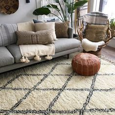 Vintage Ben Ourain Rug with Moroccan Pouf