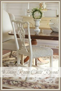 ONE PAINTED AND REUPHOLSTERED DINING ROOM CHAIR
