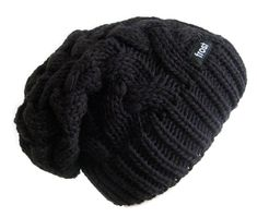 1ca055e7ce1 Frost Hats Winter Hat for Women BLACK Slouchy Beanie Cable Hat Knitted  Winter Hat Frost Hats
