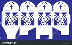 Openwork box with a lace ornament. Vector bonbonniere for wedding, birthday, baby shower, baptism and party. Laser cutting template. Silhouette of angel and cross. Cube gift box to print, cut and fold