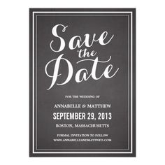 Calligraphy Chalkboard Save the Date Announcement.  $1.80