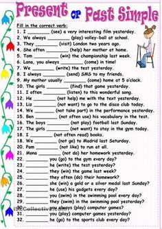 Thirty-two sentences for practicing affirmative, negative and interrogative forms of these tenses. Key is included. Thank you!!!! - ESL worksheets