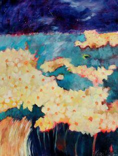 Field of Stars  Kerri Blackman #landscape painting #abstract floral #daffodils #original art