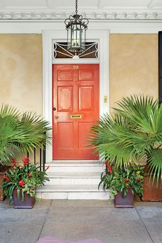 deko eingangsbereich aussen 6 Ways to Add Instant Color to Your Front Door You are in the right place about Curb Appeal garage Here we offer you the most beautiful pictur Front Door Plants, Front Door Colors, Front Door Decor, Porch Plants, Potted Plants, House Plants, Beautiful Front Doors, Painted Front Doors, Front Entrances