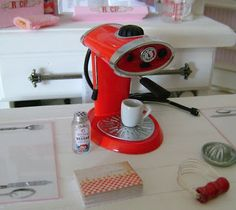 Baking In Miniature: 1:6 Playscale Vintage Red Mixer & Espresso Machine