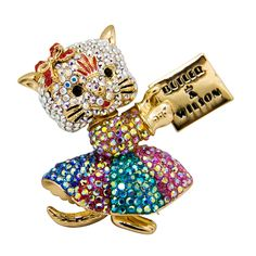 Butler & Wilson Crystal Cat Brooch featuring Swarovski crystal, it fastens with a post pin and revolver fastener.
