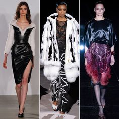 All About Texture /  Furry finishes, feathered detailing, shearling, and studded leather were just a handful of the trends that pointed to a textural takeover. Some are more typical of Fall and Winter, like the begs-to-be-touched detail in the coziest finishes at Altuzarra, Tom Ford and beyond. But there was more in the way of drama-inducing texture, too, thanks to Gucci's high-wattage, plumage-like pencil skirts and Chanel's grungier distressed denim.  /From left: Altuzarra, Tom Ford, Gucci