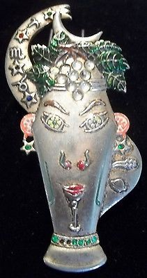 #65 $1295   Vintage 1942 stanley #macneil cocktail face fur clip #brooch figural #zodiac enam,  View more on the LINK: http://www.zeppy.io/product/gb/2/222135914335/