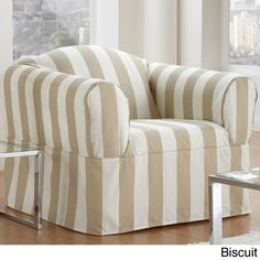 Cabana One Piece Relaxed Fit Wrap Chair Slipcover (Biscuit), Brown (Stripe