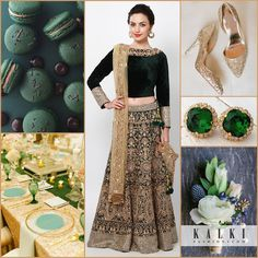 Dress up royally in a bottle green velvet and zari embroidered lehenga. Match it with glittery gold shoes and emerald studs. Design the dining area in harmony to this theme and what can be more yummy and aesthetic than matching macaroons.    - See more at: http://www.kalkifashion.com/blogs/color-splashed-weddings/#sthash.arvwjUdN.dpuf