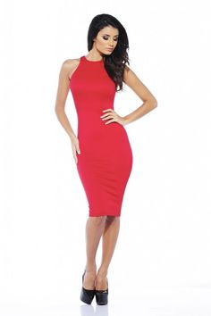 d30155f491c AX Paris Womens Red Midi Cut Neck Pencil Dress Bodycon Party Cocktail Office