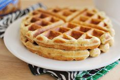 Peanut Butter Waffles - all that these need are some mini chocolate chips!