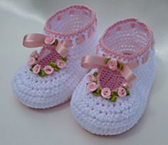 Free crochet pattern Baby Christening Bootees