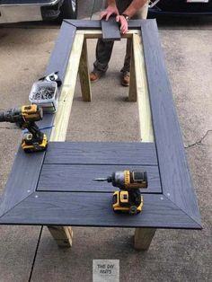 DIY Outdoor Table: What to do with leftover composite decking? - The DIY Nuts - DIY Outdoor Table: What to do with leftover composite decking? – The DIY Nuts DIY Outdoor Table: What to do with leftover composite decking? – The DIY Nuts Easy Woodworking Projects, Woodworking Furniture, Diy Wood Projects, Outdoor Projects, Woodworking Plans, Workbench Plans, Wood Crafts, Portable Workbench, Woodworking Techniques
