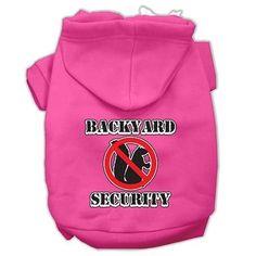 Backyard Security Screen Print Pet Hoodies Bright Pink Size XXL (18)
