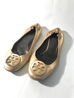 cef3462f062dd Tory Burch GOLD Leather Gold Emblem Ballet Flats Size 10M  fashion   clothing  shoes  accessories  womensshoes  flats (ebay link)