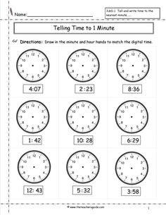 Time Worksheet   Math Worksheets  Kindergarten Worksheets