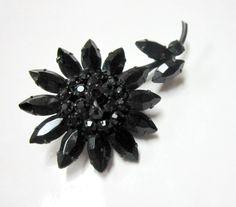Vintage Black Rhinestone