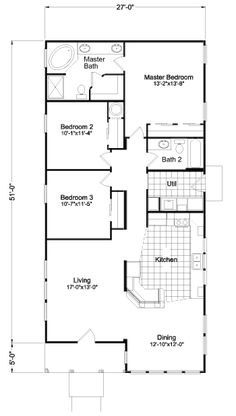 apartment floor plans We really enjoy exploring manufactured home design options and this home is no exception. The Sunset Bay from Palm Harbor offers options that aren't availabl 3 Bedroom Home Floor Plans, Mobile Home Floor Plans, Three Bedroom House Plan, Apartment Floor Plans, Modular Home Floor Plans, Small House Floor Plans, Modern House Plans, Dream House Plans, Rectangle House Plans