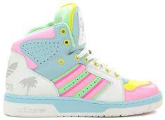 adidas Originals x Jeremy Scott: Fall 2013 Sneakers - EU Kicks: Sneaker Magazine White High Top Sneakers, White Shoes, Top Shoes, Me Too Shoes, Stilettos, Heels, Mode Swag, Mode Pop, Adidas High Tops