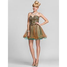 Cocktail Party/Homecoming Dress Ball Gown Strapless/Sweetheart Short/Mini Chiffon Dress – USD $ 119.99