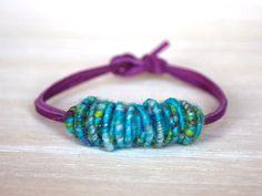 Brass-Fiber-Bead Hand Spun Yarn Bracelet