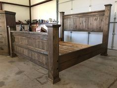 Farmhouse bed frame ideas wooden crate diy bed ideas wooden crate diy bed frames diy crateBed frame Twin No Box Spring Needed Bed frame that can be raised and lowered . Diy King Bed Frame, King Size Bed Frame, Wooden Queen Bed Frame, Rustic Queen Bed, Wooden Bed Frames, Wood Beds, Rustic Bed Frames, Cool Bed Frames, Rustic Wood Bed