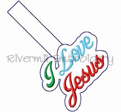 $2.95I Love Jesus In The Hoop Snap Tab Key Fob Machine Embroidery Design