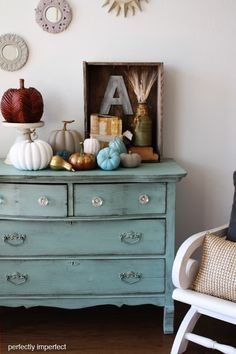 great look for this painted furniture piece using milk paint. Classic color