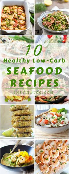 10 Healthy Low-Carb Seafood Recipes The most delicious and easy to cook fish and shrimp recipes (high protein low fat paleo sugar free gluten free diabetes friendly) via - May 04 2019 at Pescatarian Recipes, Vegetarian Recipes, Cooking Recipes, Healthy Recipes, Weeknight Recipes, Veg Recipes, Dinner Recipes, Grilling Recipes, Cooking Ideas