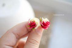 Rose stud earrings Two-color roses earrings Floral jewelry