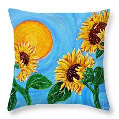 Sun Dance Throw Pillow  http://fineartamerica.com/products/sun-dance-sarah-loft-throw-pillow..  #throwpillows #sarahloft #sunflowers #flowers #painting