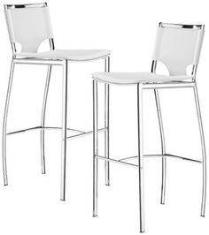 "Set of 2 Zuo Lark White 30"" High Bar Stools eurostylelighting.com"