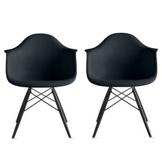 Amazon.com - 2xhome - Set of 2 Black Eames Style Dining Room Chairs - High Quality Armchairs - Black Wooden Legs - Lounge Chair Seat Shell Arm Arms Armed Armchair with Black Wood Dowel Leg WoodLeg Legged Base Pyramid Eiffel Eifel DAW - Modern Contemporary Unique MidCentury Mid Century Designer Artistic Classic Style Sturdy Strong Durable Higher High Grade Molded Hard Plastic - Dinning Living Family Room Kitchen Hallway Bedroom Bed Bath Bathroom Baby Nursery Patio Balcony Work Study Party…