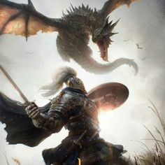 yeah dragons are pretty sweet but THIS is epic Fantasy Dragon, Fantasy Warrior, Fantasy Rpg, Medieval Fantasy, Fantasy Artwork, Fantasy World, Dark Fantasy, Fantasy Creatures, Mythical Creatures
