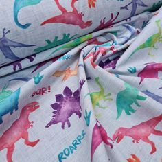 Cotton Roarsome Dinos, sold by half metre Sewing Blogs, Sewing Crafts, Flamingo Fabric, Dinosaur Fabric, Dinosaur Design, Custom Printed Fabric, Fabulous Fabrics, Haberdashery, Fabric Online