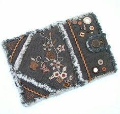 Brown denim patchwork Kindle 2 or 3 case