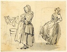 Two washerwomen, one of the sketches made in Edinburgh and the neighbourhood after the rebellion of 1745 Pen and black ink and grey wash, ov... Scottish Costume, 18th Century Costume, 18th Century Clothing, Figure Sketching, Working Woman, Women In History, British Museum, Edinburgh, The Neighbourhood