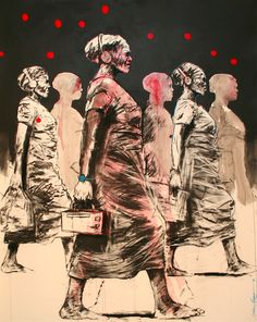 Nelson Makamo, 'They Move With Time', Mixed media on paper, 160 x 121 cm, Courtesy of CIIRCA Gallery Artist Painting, Artist Inspiration, Harlem Renaissance Artists, Drawing Illustrations, Art, African Art, Art Fair, South African Artists, Interesting Art