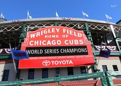 """Chicago Cubs photo print, Wrigley Field picture; 5x7 to 30x45"""", PAPER print only with fast shipping. Chicago Wrigley Field sign photo print after Cubs won their title. Full color art photography, small to large wall décor, a gift for a baseball fan. Available in sizes from 5x7 to 30x45 inches on a premium quality photo paper. Choose a desired paper size from the SELECT OPTIONS menu (located just above the Add to Cart button). Images above show prints in the following sizes: 5x7 inches, -..."""