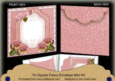 Pink Pansy Beaded Fancy 7x7inch Easy Envelope Mini Kit on Craftsuprint - Add To Basket!