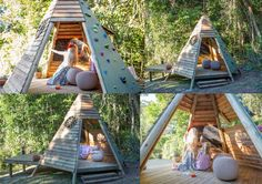 "Wooden Teepee playhouse with climbing ""wall"" side - how cool! [dirtgirlworld]"