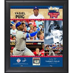 """Yasiel Puig Los Angeles Dodgers Fanatics Authentic Framed 15"""" x 17"""" 2014 MLB All-Star Game Collage with Piece of Game-Used Baseball-Limited Edition of 50 - $89.99"""