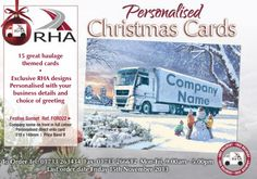 15 great haulage themed cards • Exclusive RHA designs Personalised with your business details and choice of greeting