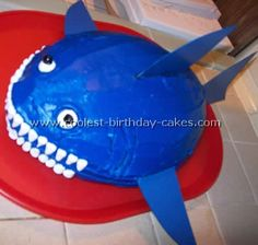 Clever tip:  use a football-shaped cake pan to make a shark!
