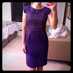 Antonio Melani Purple Cocktail Dress Beautiful dress, absolutely stunning! Intricate detail on bodice, deep purple color. Squared sleeves give a nice unique touch. Brand new with tags! ANTONIO MELANI Dresses Mini