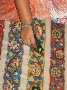 Kalamkari - Jayanth Kalamkari DISEÑOS: Pen Kalamkari Proceso de pintura