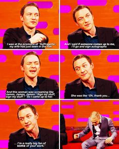 "When James McAvoy told this story and Daniel Radcliffe laughed so hard he spat out his water. | 23 Of The Best Things To Ever Happen On ""The Graham Norton Show"""